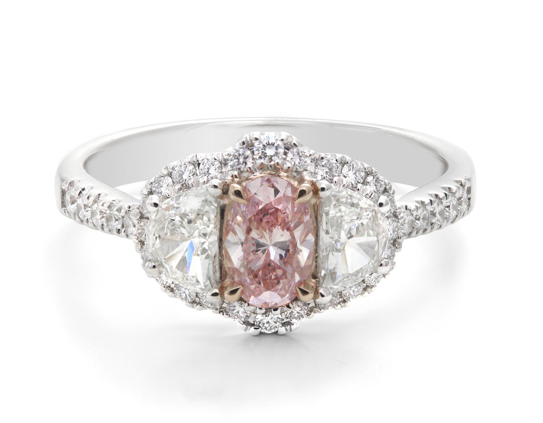 White & Pink Diamond Ring